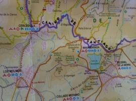 Plano con el Camino de Santiago marcado.
