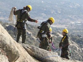 Momento en el que los agentes forestales retiran las vías de escalada. (Foto: Apaf).