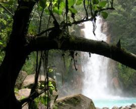 Cascada en el río Celeste. Parque Nacional Volcán Tenorio. Costa Rica.