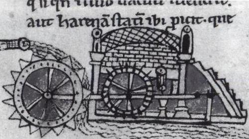 Ilustración medieval de un molino hidráulico.