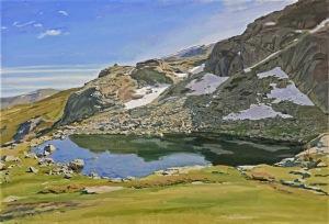 """""""Laguna Grande de Peñalara-Deshielo"""" (2014). Óleo sobre lienzo. 81x130 cm. (fotografía de Unidad Móvil)."""