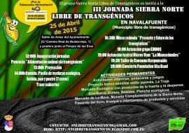 Cartel de la III Jornada Sierra Norte Libre de Transgénicos.