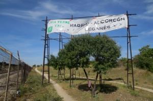 Pancarta reivindicativa colocada por los ecologistas. (Foto: Ecologistas en Acción).