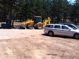 Obras de un nuevo aparcamiento en el puerto de Navafría. (Foto: Ecologistas en Acción).