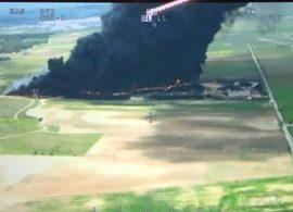 Foto aérea del incendio horas después de declararse. Foto: 112 Madrid.