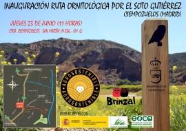 Cartel anunciador de la inauguración de la ruta ornitológica.
