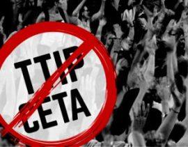 Pancarta de oposición al TTIP.
