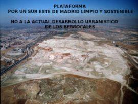 Cartel utilizado por la Plataforma contra el desarrollo de 'Los Berrocales'.