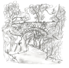 Puente de la Angostura (Rascafría). Dibujo: Sergio Lucas Martinez.