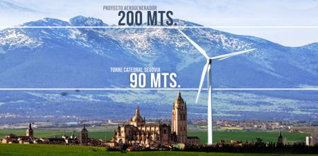 Comparativa entre uno de los aerogeneradores que se quieren instalar y la torre de la Catedral de Segovia.
