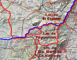 Localización  del  despoblado de Canto-Los  Hierros (GRIS).