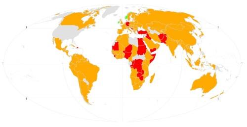 En este mapa, se muestra el progreso de los países en el cumplimiento de las Metas de Aichi para frenar la biodiversidad en 2020. En verde, los países que están en el camino de lograr cumplir los objetivos. En ámbar, países que avanzan pero no lo suficiente. En rojo, países que no progresan o incluso se alejan de los objetivos.