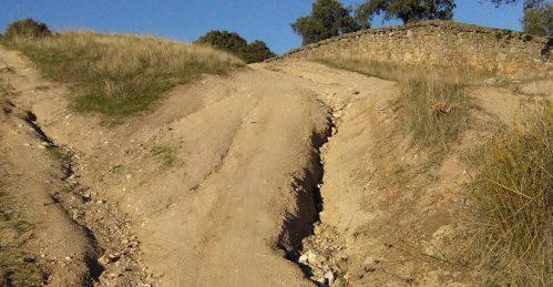 Erosión en la vía pecuaria.