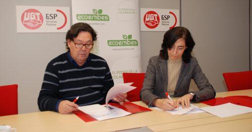 Julio Lacuerda, Secretario general de FeSP-UGT y Begoña de Benito, directora de Relaciones Externas de Ecoembes.