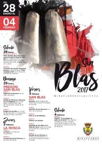 Cartel de las fiestas de San Blas donde aparece programada la suelta de dos vaquillas en la plaza de toros del municipio.