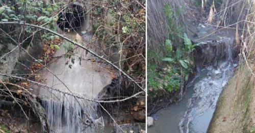 Vertidos de aguas residuales en el arroyo de Faraldo. (Foto: Vía Natura).