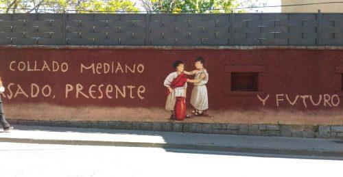 Uno de los murales recientemente pintados en Collado Mediano.