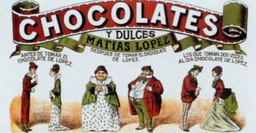 Uno de los anuncios utilizados por la Fábrica de Chocolates.