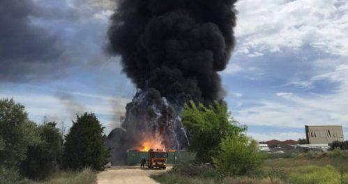 Explosión de la planta de gestión de residuos de Arganda. Foto Equo Madrid.