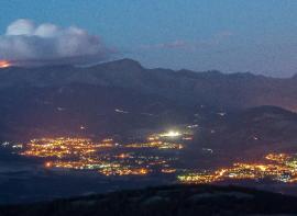 Contaminación lumínica en la Sierra de Guadarrama.