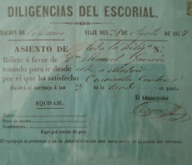 Billete de la antigua diligencia escurialense. Foto: Ayto. El Escorial.