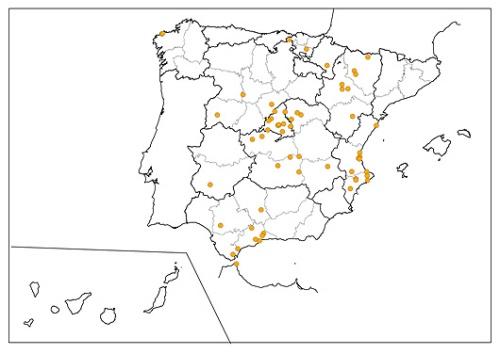 Distribución de las poblaciones de ruiseñor común.