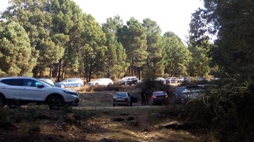 Gran cantidad de vehículos aparcados a las puertas del castañar. Foto: Plataforma 'Salvemos el Castañar de El Tiemblo'.