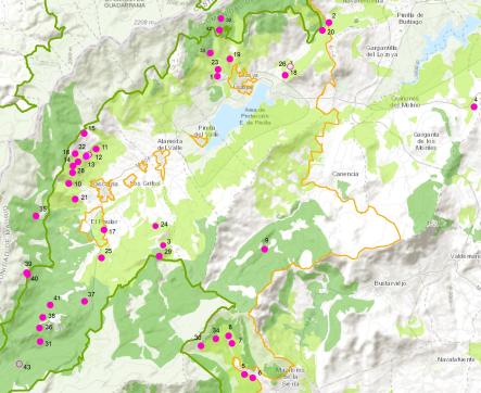 Mapa de los robledales estudiados.