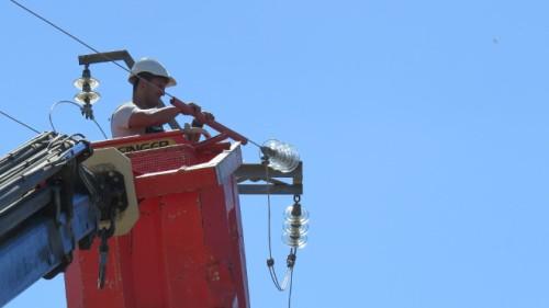 Un operario aísla el cable de un tendido eléctrico peligroso para las aves.