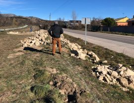 Obras de recuperación de los muros tradicionales de piedra. Foto: Ayto. Soto del Real.