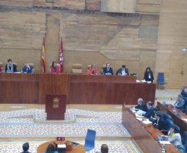Momento de la aprobación del compromiso por la Asamblea de Madrid. Foto: Gabriel Dorado.